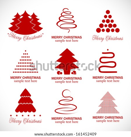 Christmas Tree Icons Set - Isolated On Background - Vector Illustration, Graphic Design Editable For Your Design - stock vector