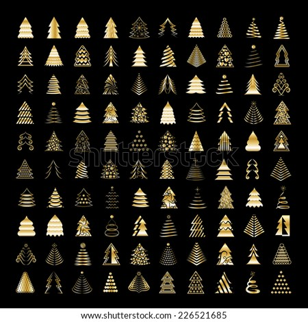 Christmas Tree Icons Set - Isolated On Black Background - Vector Illustration, Graphic Design Editable For Your Design  - stock vector