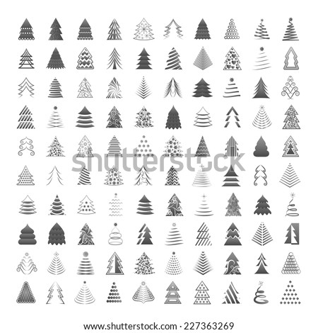 Christmas Tree Icons Set - Isolated On Gray Background - Vector Illustration, Graphic Design Editable For Your Design - stock vector