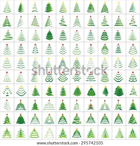 Christmas Tree Icons Set - Isolated On White Background - Vector Illustration, Graphic Design Editable For Your Design  - stock vector