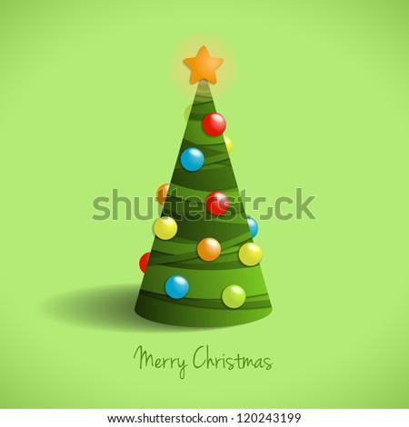 Christmas tree, illustration on green - stock vector
