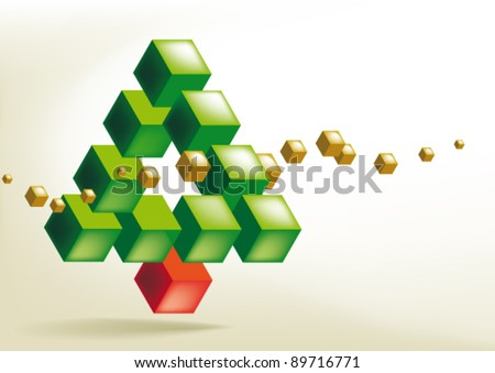 christmas tree impossible shape - stock vector
