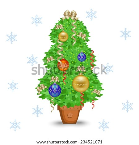 Christmas tree in a pot. Vector illustration - stock vector