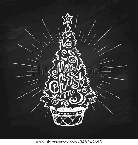 "Christmas Tree in a Pot with ""Merry Christmas"" Lettering in Chalk on Blackboard. Vector Illustration. - stock vector"
