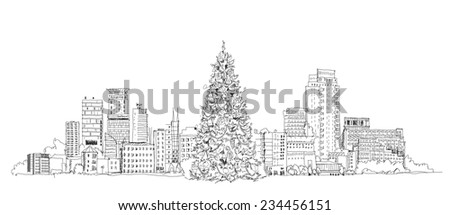 Christmas tree in London, sketch collection - stock vector