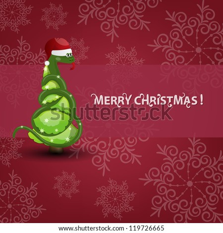 Christmas tree in snake year vector card