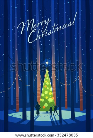 Christmas tree in the forest. Greeting card \ background \ poster. Vector illustration. - stock vector