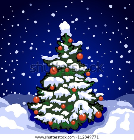 Christmas Tree Street Night Falling Snow Stock Vector 112849771 ...