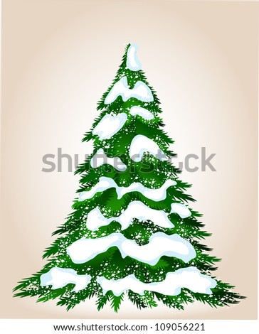 Christmas tree in winter, vector image for design - stock vector