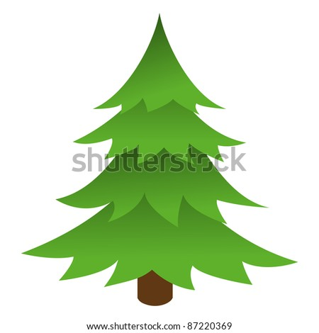 Christmas tree isolated on a white background. Vector illustration. - stock vector