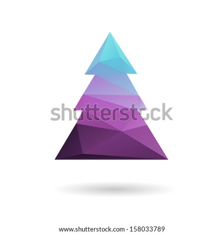 Christmas tree isolated on a white backgrounds, vector illustration - stock vector