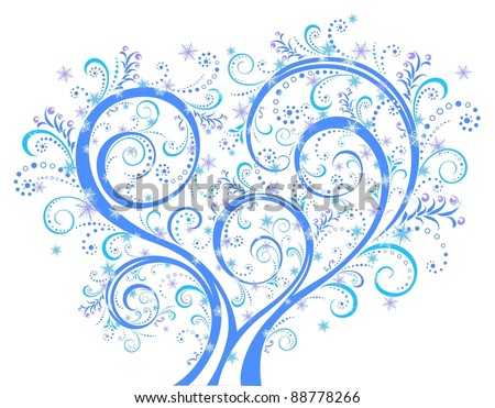 Christmas tree isolated on the white background, floral background, floral ornament. Vector illustration. - stock vector