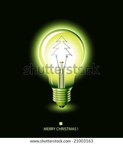 christmas tree light bulb green vector - Christmas Tree Light Bulb