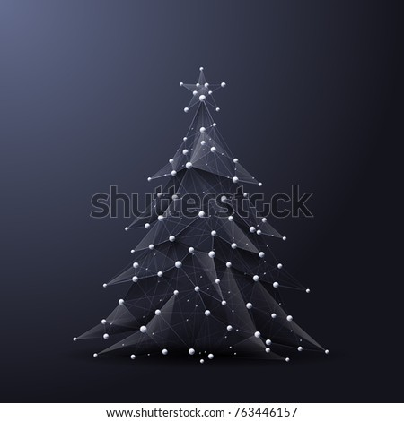 Christmas Tree Low Poly Wireframe Vector Stock Vector (2018 ...