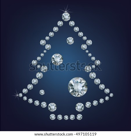 Christmas tree made a lot of diamonds