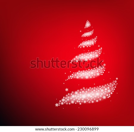 Christmas tree made from abstract snowflakes on red background