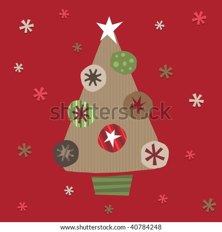 christmas tree made from brown paper and cut out decorations - stock vector