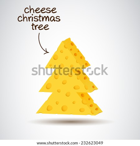 Christmas tree made from cheese, new year symbol. - stock vector
