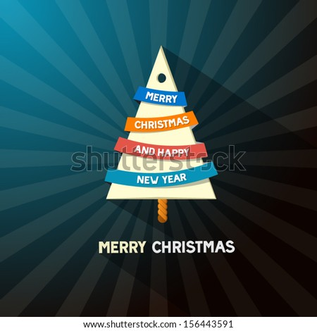 Christmas Tree Made From Paper on Dark Blue Background - stock vector