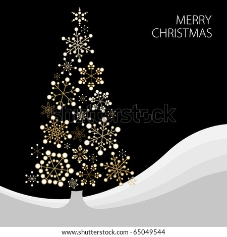 Christmas tree made from simple abstract golden snowflakes - stock vector