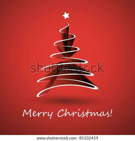 Christmas tree made from white ribbon - stock vector