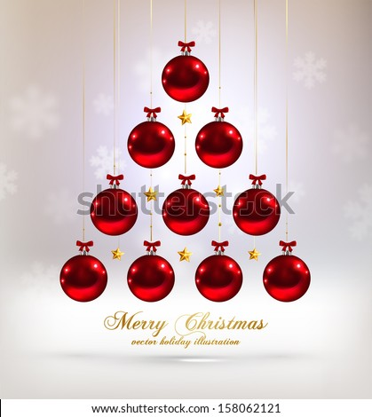 Christmas Tree Made of Baubles, blurred snowflakes, vector - stock vector