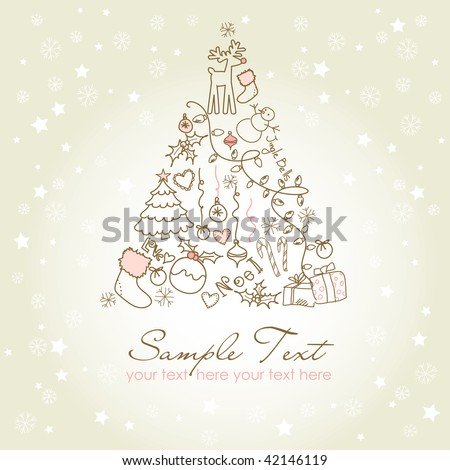 Christmas tree made of cartoon holiday symbols - stock vector