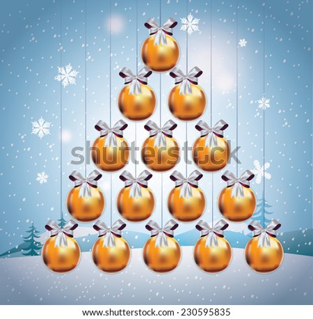 Christmas tree made of Christmas balls. Christmas card. Merry X-mas and Happy New Year. - stock vector