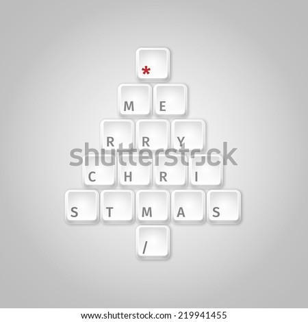 Christmas tree made of computer keys - stock vector