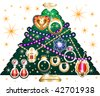 Christmas Tree 3 made of jewelry. Vector Illustration - stock vector