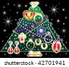 Christmas Tree 2 made of jewelry. Vector Illustration - stock vector