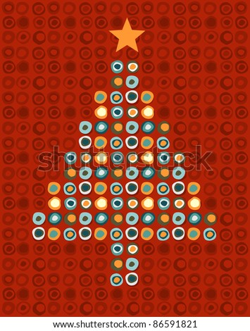 Christmas tree made of multicolored circles with a orange star on the top on red background. Vector file available. - stock vector
