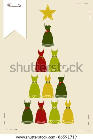 Christmas tree made ??of multicolored dresses with a yellow star on the top on pink background.  Vector file available. - stock vector