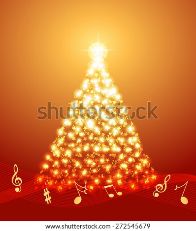 Christmas tree made of musical notes and stars - stock vector