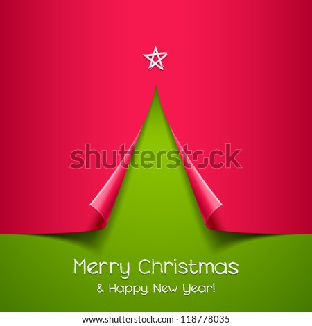 Christmas tree made of paper. Vector background for design - stock vector