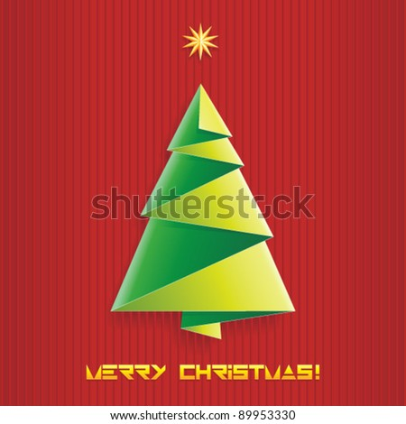 Christmas tree made of paper, vector illustration - stock vector