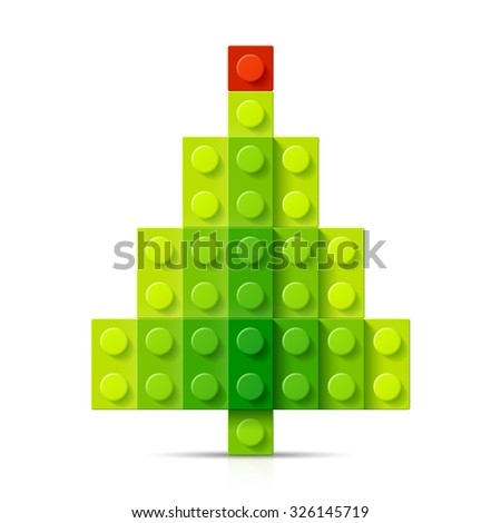 Christmas tree made of plastic blocks. Vector.  - stock vector