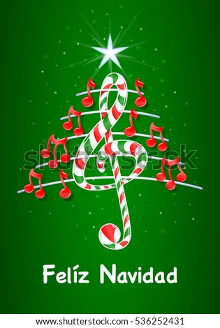 Christmas Tree Made Red Musical Notes Stock Vector HD (Royalty Free ...