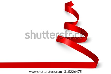 Christmas tree made of red ribbon isolated on white. Vector illustration