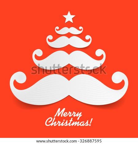 Christmas tree made of Santa's mustache . Vector. - stock vector