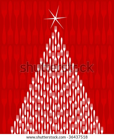 Christmas Tree made of white forks. Shiny star on top. Fork red pattern on the background. Vector file available.