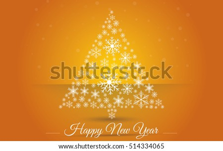Christmas tree made osnowflakes. Eps 10. Vector illustration. Happy New Year 2017