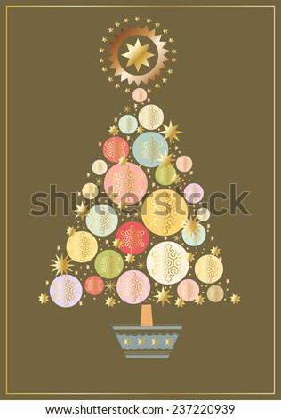 Christmas tree made up of circles and stars - stock vector