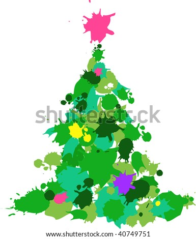 Christmas tree made with a color slashes