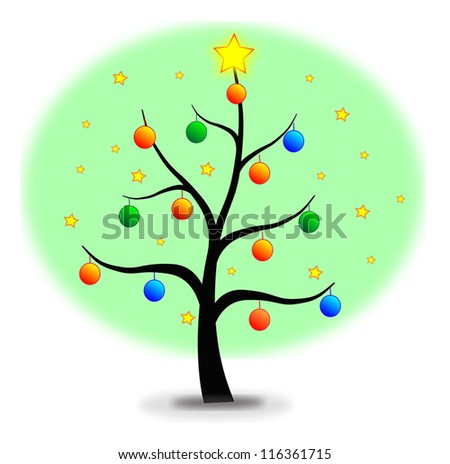 Christmas tree made with stars and balls - stock vector