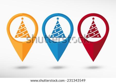 Christmas tree map pointer, vector illustration. Flat design style  - stock vector