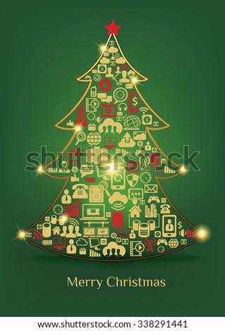 Christmas tree, Merry Christmas, Computer and Telecommunications concept set, Multi icons, Greeting card - stock vector