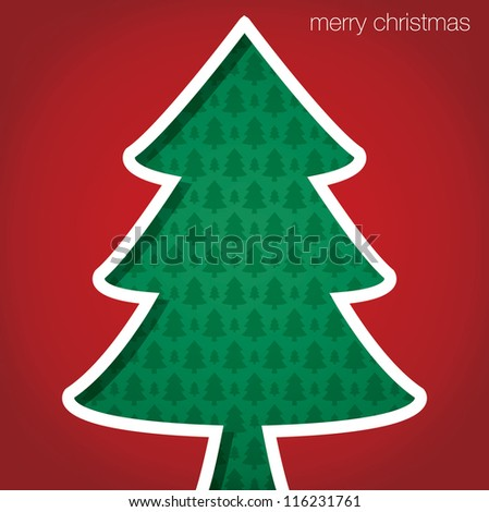 """Christmas Tree """"Merry Christmas"""" cut out card in vector format. - stock vector"""