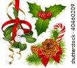 Christmas tree, mistletoe and holly - stock vector