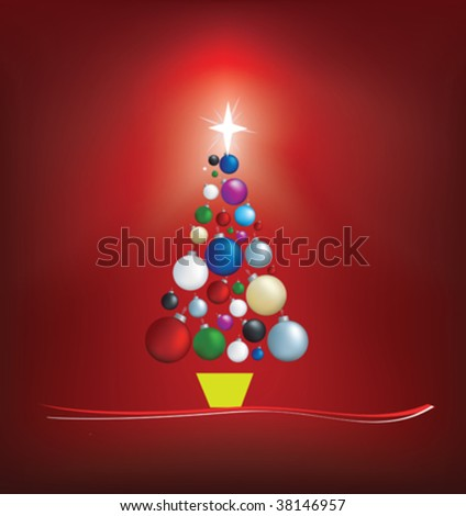 christmas tree modern illustration in a loose abstract style - stock vector